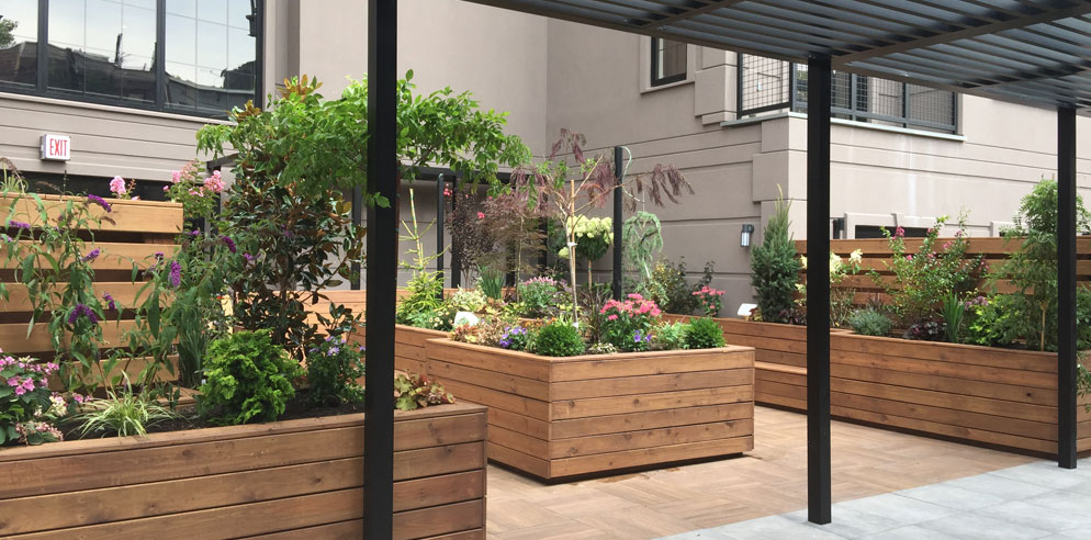 Raised wooden planters